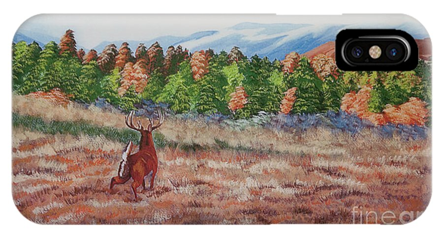 Fall Paintings IPhone X Case featuring the painting Deer In Fall by Charlotte Blanchard