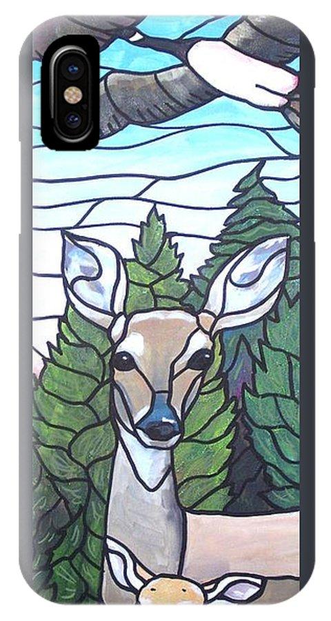 Deer IPhone X / XS Case featuring the painting Deer Scene by Jim Harris
