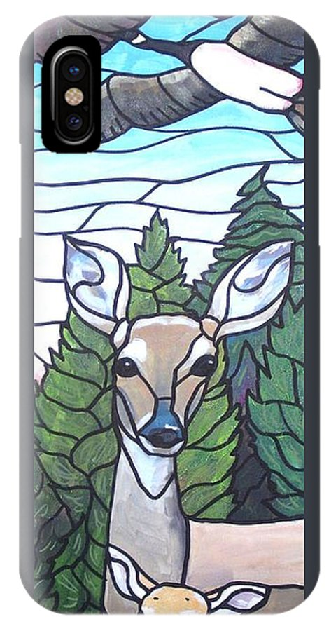 Deer IPhone X Case featuring the painting Deer Scene by Jim Harris