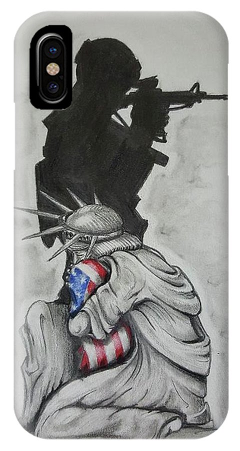 Liberty IPhone X Case featuring the drawing Defending Liberty by Howard King