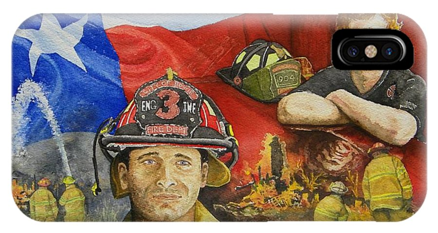 Firemen IPhone X Case featuring the painting Defending Texas by Gale Cochran-Smith