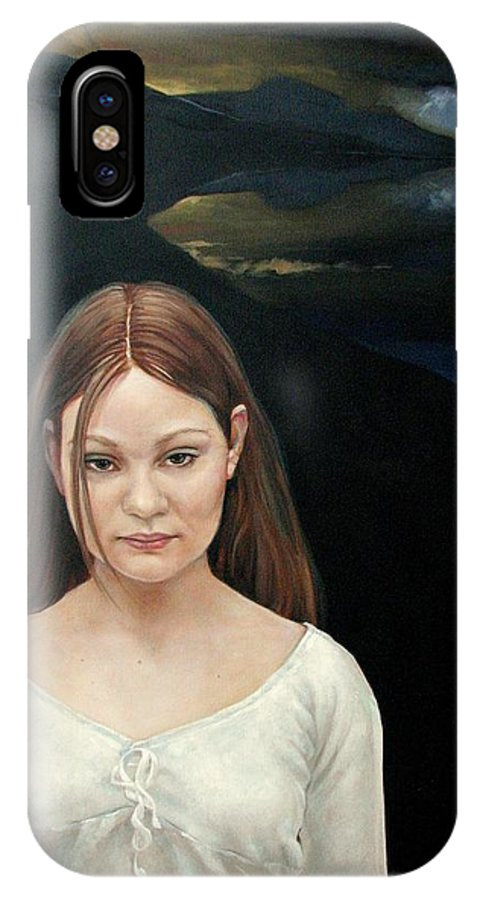 Facial Expressioin IPhone X Case featuring the painting Defiant Girl 2004 by Jerrold Carton