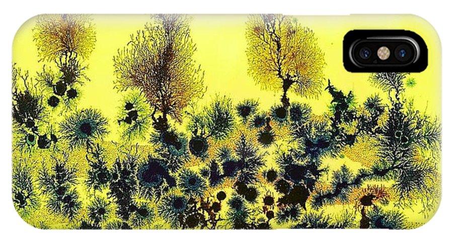 Dendritic Art IPhone X Case featuring the painting Deforestacion by Sebastian Calvo Seijas