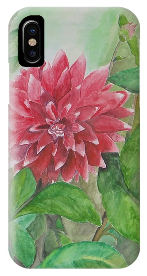 Flowers Blooming In Dehradun Valley IPhone X / XS Case featuring the painting Dahlia Flower Grown In Apartment Garden by Saloni Verma