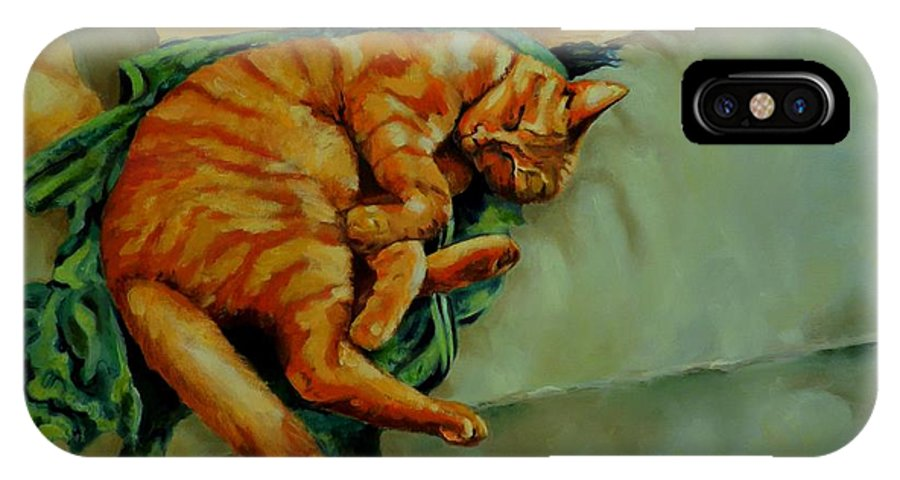 Sleeping Cat IPhone X Case featuring the painting Delicious Sleep by Jolante Hesse
