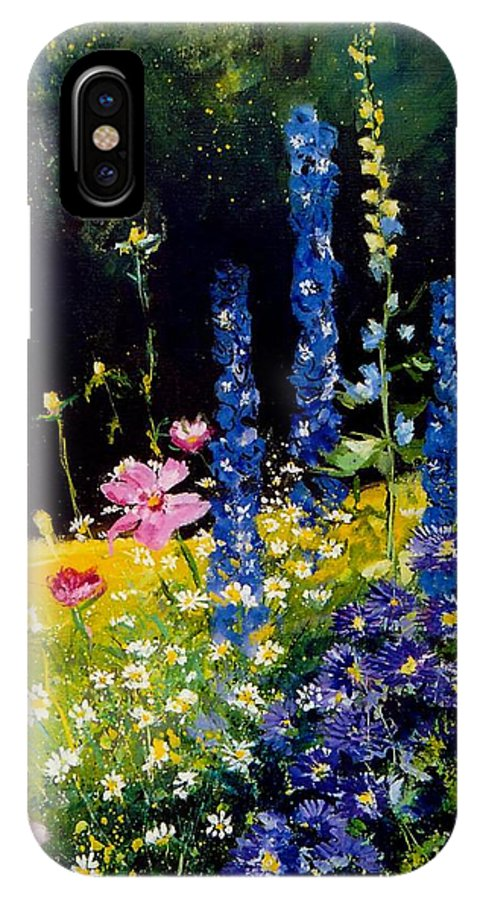 Poppies IPhone Case featuring the painting Delphiniums by Pol Ledent