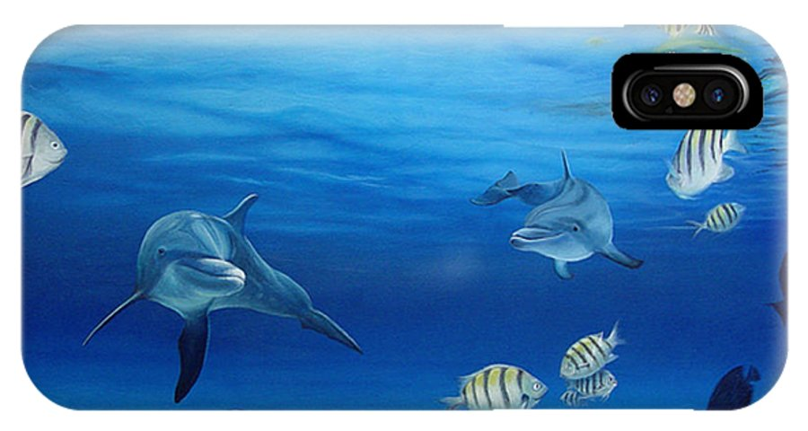 Seascape IPhone X Case featuring the painting Delphinus by Angel Ortiz