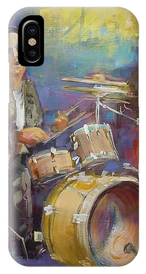 Music IPhone X Case featuring the painting Demon Drummer by Podi Lawrence