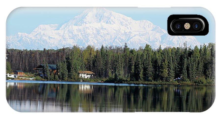 Kashwitna Lake IPhone X Case featuring the photograph Denali From Kashwitna Lake by Steve Wolfe