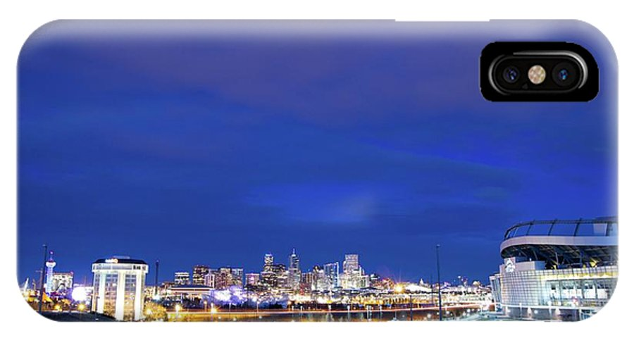 Denver IPhone X Case featuring the photograph Denver Night Skyline by Chris Anthony