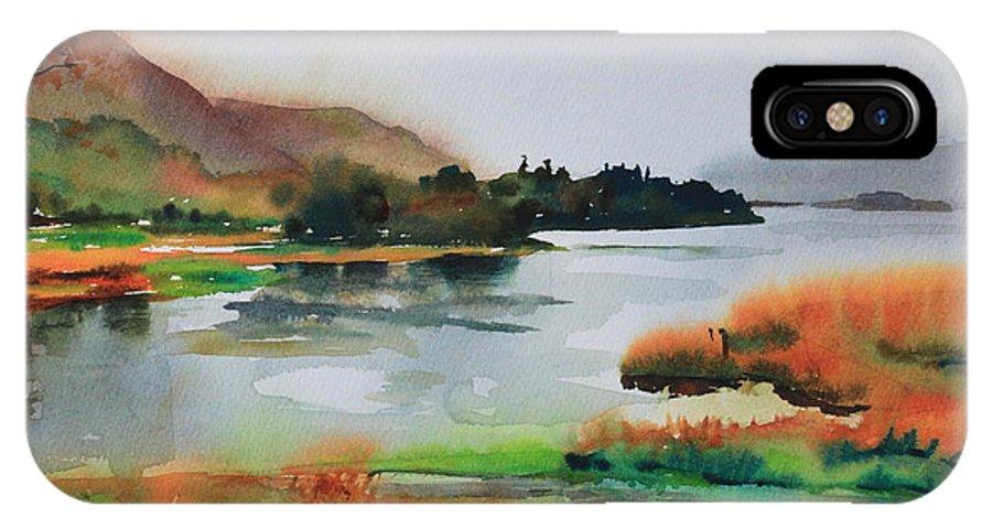 Derwentwater IPhone X Case featuring the painting Derwentwater by Ibolya Taligas