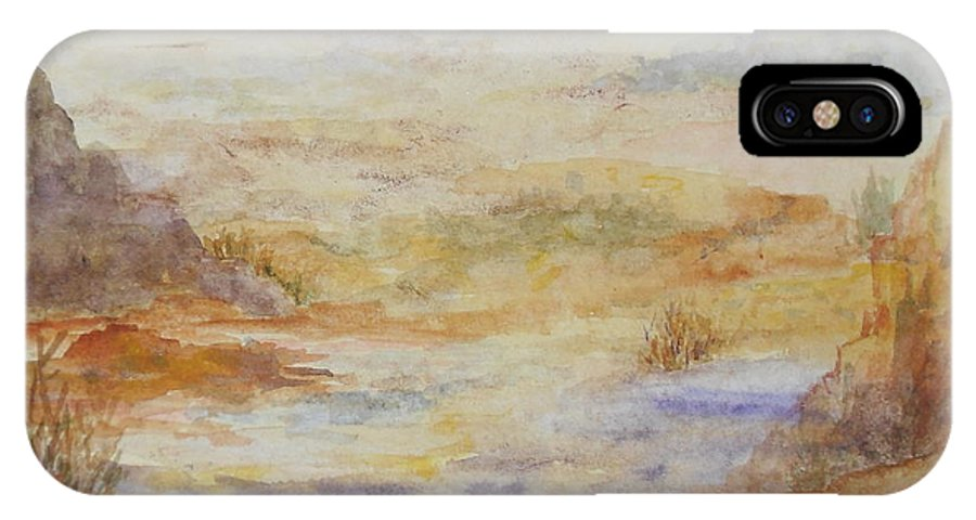 Red Rock IPhone X Case featuring the painting Desert Canyon by Vicki Housel