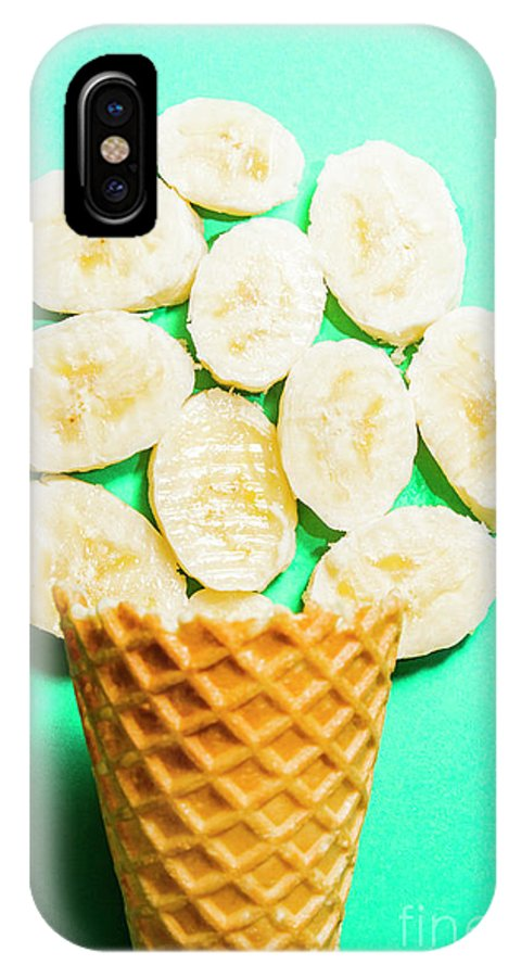 Banana IPhone X Case featuring the photograph Dessert Concept Of Ice-cream Cone And Banana Slices by Jorgo Photography - Wall Art Gallery