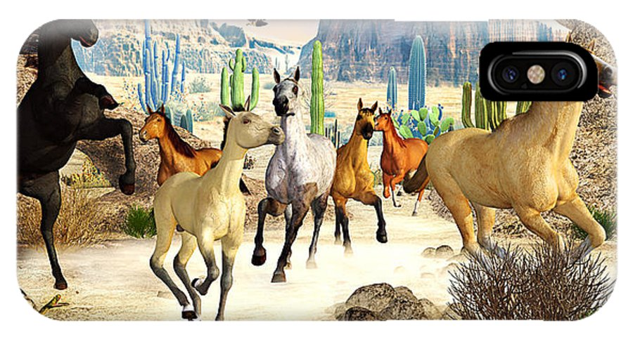 Horses IPhone X Case featuring the photograph Desert Horses by Peter J Sucy