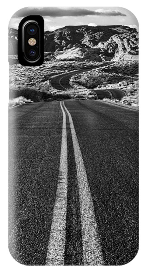Valley Of Fire IPhone X Case featuring the photograph Desert Journey B/w by James Marvin Phelps