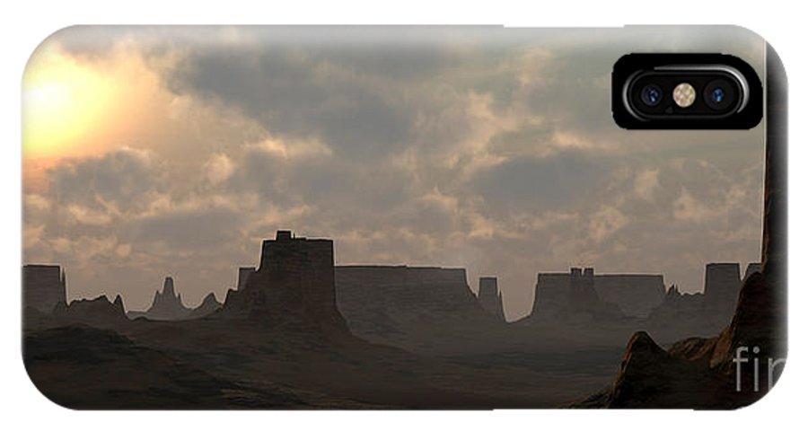 Desert IPhone X Case featuring the digital art Desert Morning by Richard Rizzo