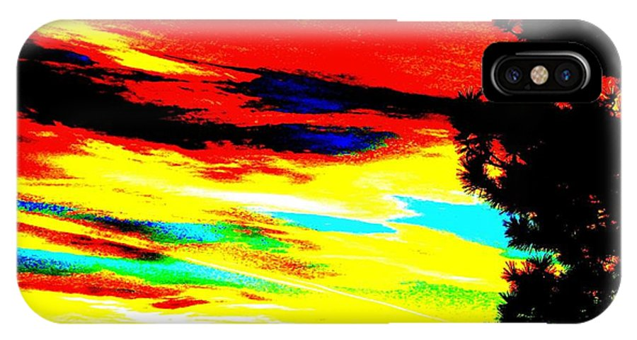 Abstract IPhone X Case featuring the digital art Desert Sky by Will Borden