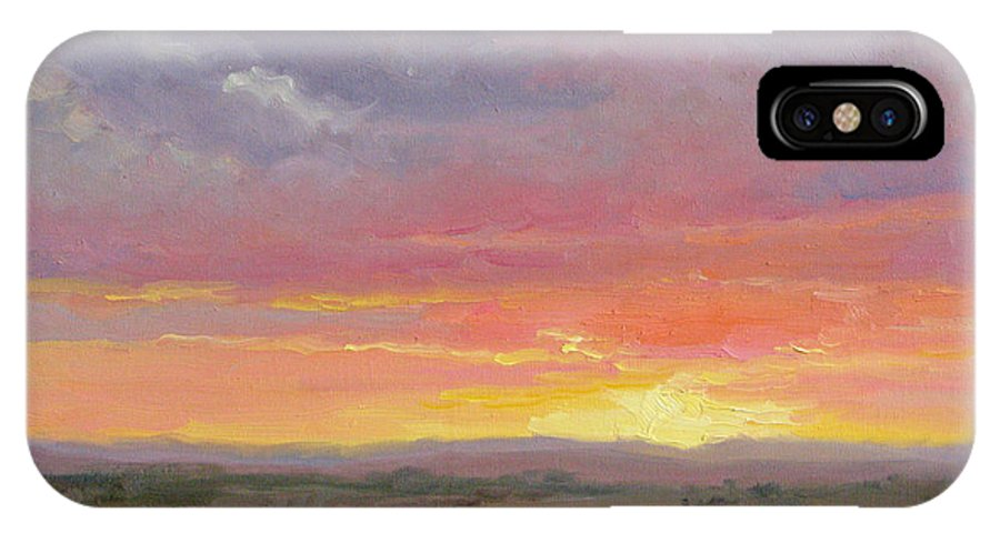 Sunset IPhone X Case featuring the painting Desert Sundown by Bunny Oliver