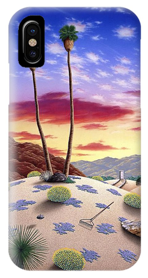 Desert IPhone X Case featuring the painting Desert Sunrise by Snake Jagger