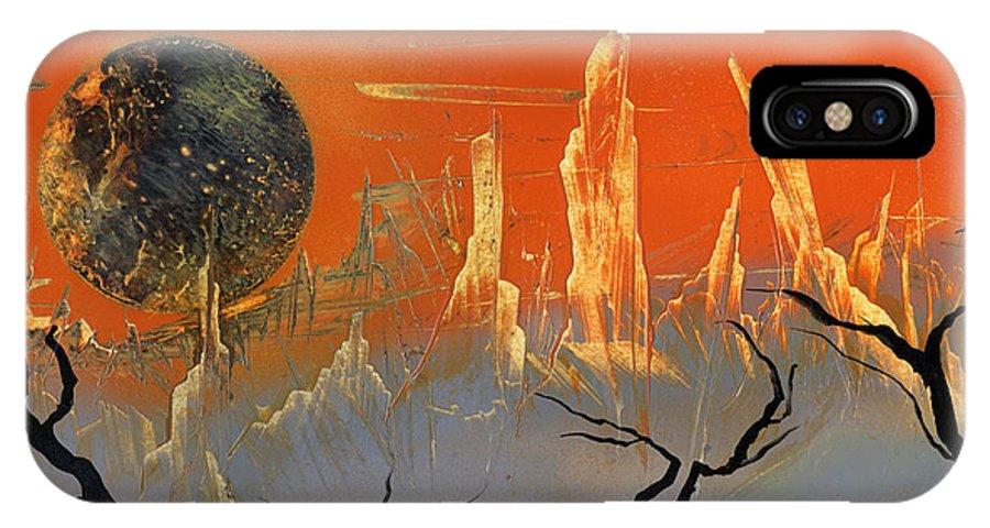 Desert Sunset IPhone X Case featuring the painting Desert Sunset by Jason Girard