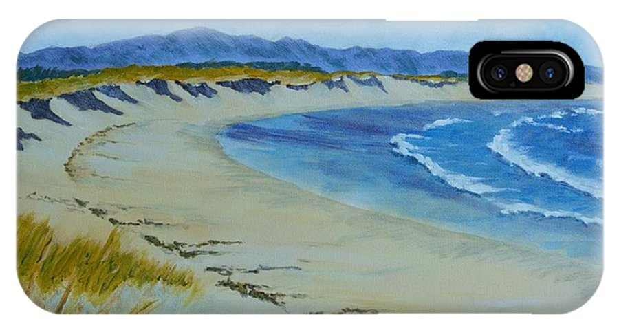 Beach IPhone X Case featuring the painting Deserted Beach by Ken Watson