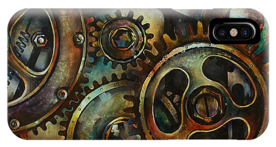 Mechanical Machine Gears Sprokets Metal Rust IPhone X Case featuring the painting Design 2 by Michael Lang