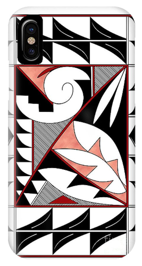 Southwest IPhone X Case featuring the digital art Southwest Collection - Design Four In Red by Tim Hightower