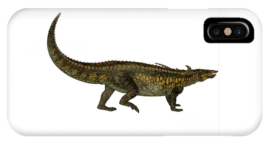 Desmatosuchus IPhone X Case featuring the painting Desmatosuchus Profile by Corey Ford