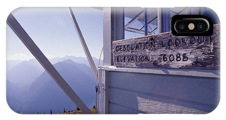 Desolation Peak IPhone X Case featuring the photograph Desolation Peak Fire Lookout Cabin Sign by David Pluth