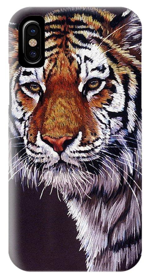 Tiger IPhone X Case featuring the drawing Desperado by Barbara Keith