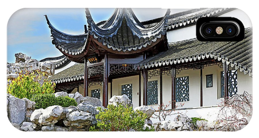 Chinese IPhone X Case featuring the photograph Detail Chinese Garden With Rocks. by Nareeta Martin