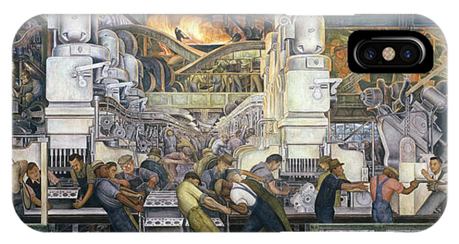 Machinery; Factory; Production Line; Labour; Worker; Male; Industrial Age; Technology; Automobile; Interior; Manufacturing; Work; Detroit Industry IPhone X Case featuring the painting Detroit Industry  North Wall by Diego Rivera