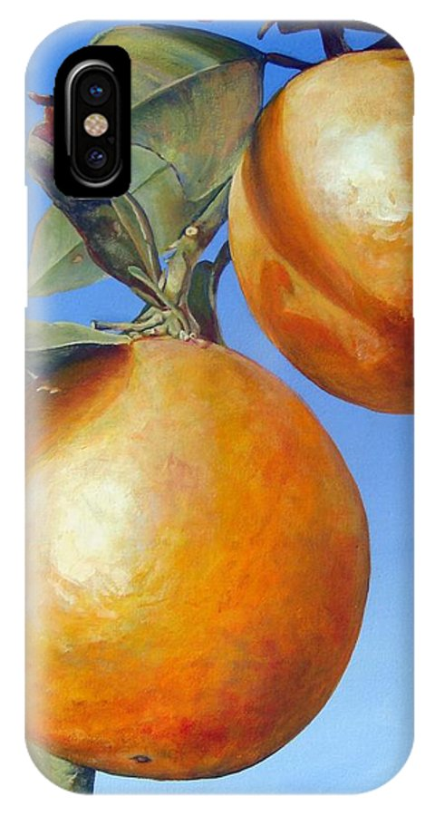 Floral Painting IPhone X Case featuring the painting Deux Oranges by Muriel Dolemieux