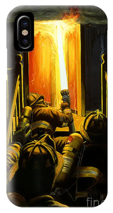 Firefighting IPhone X Case featuring the painting Devil's Stairway by Paul Walsh