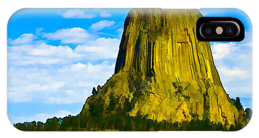 Landscape IPhone X Case featuring the digital art Devils Tower by Ches Black