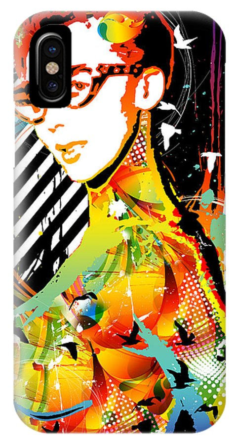Nostalgic Seduction IPhone X Case featuring the mixed media Dexterous Dame by Chris Andruskiewicz