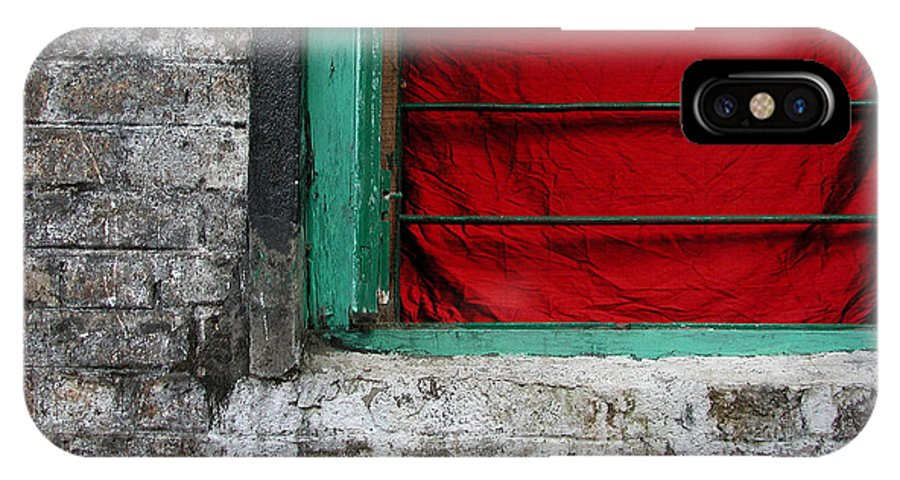 Red IPhone X Case featuring the photograph Dharamsala Window by Skip Hunt