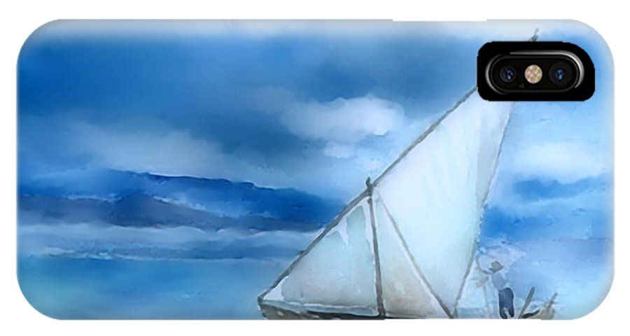 Dhow IPhone X Case featuring the digital art Dhow Fishing Vessel by Arline Wagner