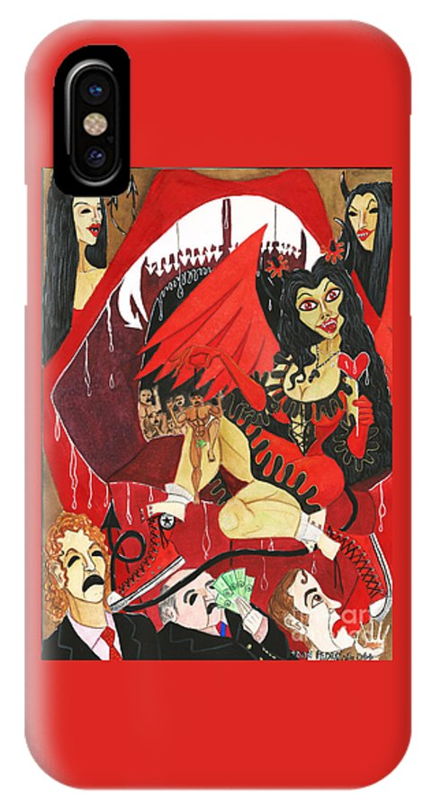 Sexy Girl IPhone X Case featuring the painting Meneater Evil Girls by Don Pedro DE GRACIA