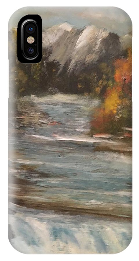 IPhone X Case featuring the painting Diamond Falls by Joseph Snyder