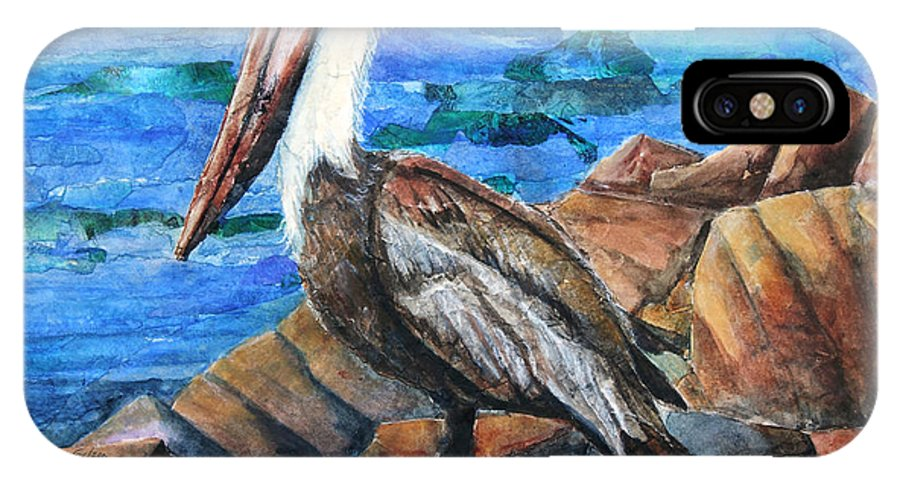 IPhone X / XS Case featuring the painting Dick The Pelican by Patricia Allingham Carlson