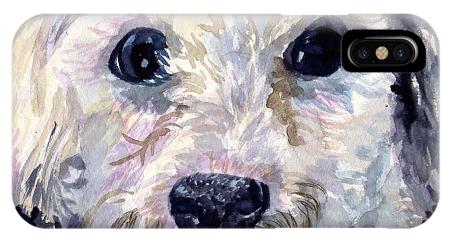 Bichon Frise IPhone X Case featuring the painting Did You Say Lunch by Sharon E Allen