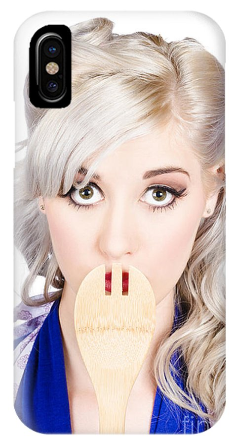 Secret IPhone X / XS Case featuring the photograph Diet Woman Covering Mouth With Secret Recipe Spoon by Jorgo Photography - Wall Art Gallery