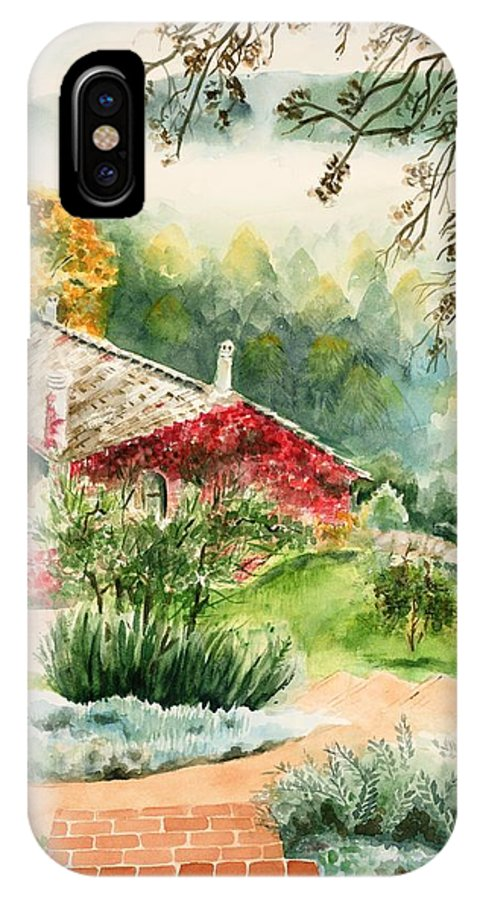 View Of Pathway To Red Cottage And Mountains In Mist IPhone X Case featuring the painting Dievole Vineyard In Tuscany by Judy Swerlick