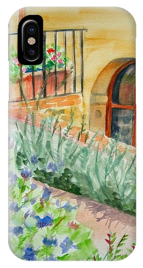 Flowers Surrounding Apartment On Vineyard IPhone X Case featuring the painting Dievole Vineyard by Judy Swerlick