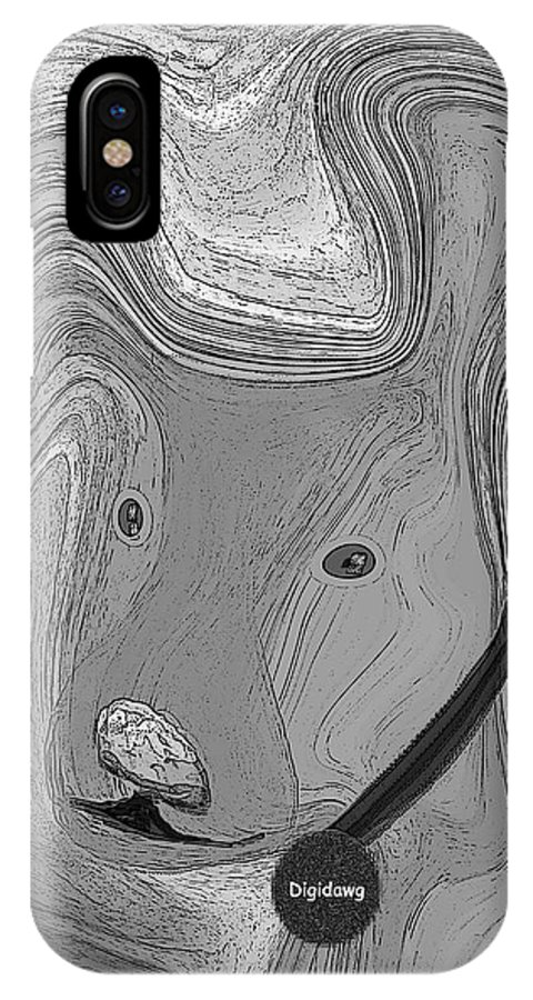 Ruth Palmer Abstract Black And White Digital Dog Dogs Animals Humor Funny IPhone Case featuring the digital art Digidawg by Ruth Palmer