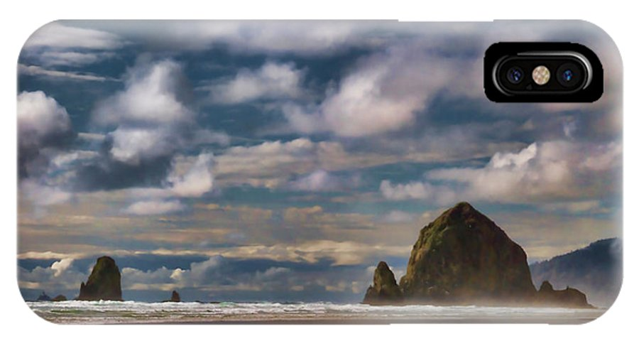 Cannon Beach IPhone X Case featuring the digital art Digital Painting Of Cannon Beach by Sven Brogren