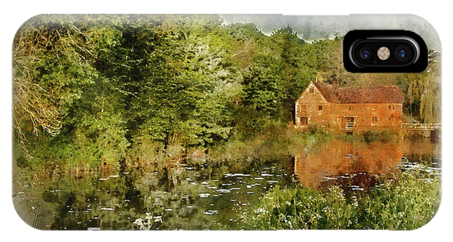 Landscape; Mill; Sturminster Newton; Old; River Stour; Nature; Trees; Riverbank; Sunrise; Morning; Colourful; Vibrant; Calm; Peaceful; History; Historic; Heritage; Watercolor; Watercolour; Painting; Digital; Art; Artistic; Paper; Texture; Medium; Effect; Filter; Brushstrokes; Technique; Style IPhone X Case featuring the photograph Digital Watercolor Painting Of Early Morning Landscape Across River To Old Mill by Matthew Gibson