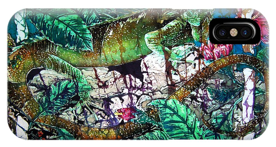 Iguana IPhone Case featuring the painting Dining At The Hibiscus Cafe - Iguana by Sue Duda