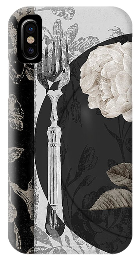 White Rose IPhone X Case featuring the painting Dinner Conversation I by Mindy Sommers